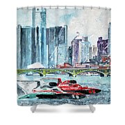 Gold Cup Race On Detroit River Shower Curtain