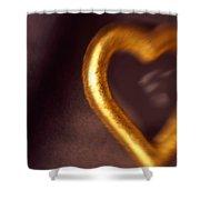 Gold Heart Mirror Shower Curtain