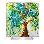 Gold Heart Valentine Tree Watercolor N Ink Shower Curtain