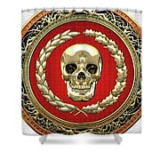 Gold Human Skull Over White Leather  Shower Curtain