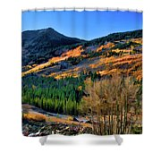 Gold In The Rockies Shower Curtain