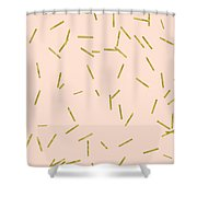Gold Matchstick Confetti Print On Angel Pink Shower Curtain