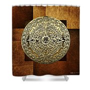Gold Mayan-aztec Calendar On Brown Leather Shower Curtain