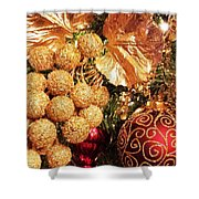 Gold Ornaments Holiday Card Shower Curtain