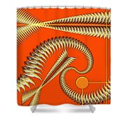 Gold Pipes Shower Curtain