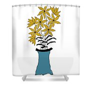 Gold Pointed Flowers Shower Curtain