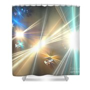 Gold Star Beams Shower Curtain