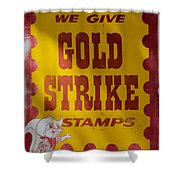 Gold Strike Stamps Shower Curtain