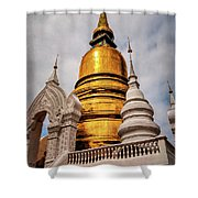 Gold Stupa Shower Curtain