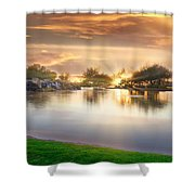 Gold Sunset At The Lake Shower Curtain