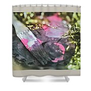 Gold Tinsel Paint Shower Curtain