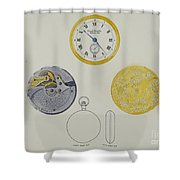 Gold Watch With Frame And Case Shower Curtain