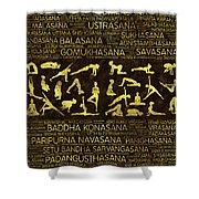 Gold Yoga Asanas / Poses Sanskrit Word Art  Shower Curtain