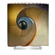 Golden And Brown Spiral Staircase Shower Curtain