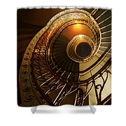 Golden And Brown Spiral Stairs Shower Curtain
