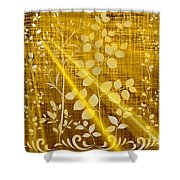 Golden And White Leaves Shower Curtain