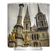 Golden Angel Statues In Front Of The Cathedral Shower Curtain