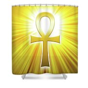 Golden Ankh With Sunbeams Shower Curtain