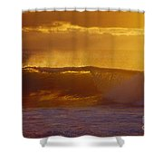 Golden Backlit Wave Shower Curtain