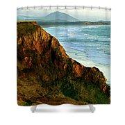 Golden Beach Cliff Side  Painterly Shower Curtain