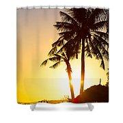 Golden Beach Tropics Shower Curtain
