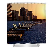 Golden Benches Shower Curtain