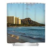 Golden Bliss On The Beach - Waikiki And Diamond Head Volcano Shower Curtain