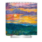 Golden Blue Ridge Sunset Shower Curtain