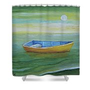 Golden Boat In The Green Lagoon Shower Curtain