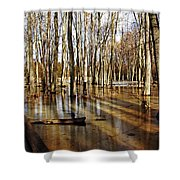 Golden Brown Pond Shower Curtain