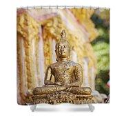 Golden Buddha Ornament Shower Curtain