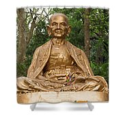Golden Buddhist Monk Shower Curtain
