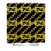 Golden Chains With Black Background Seamless Texture Shower Curtain