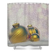Golden Christmas Balls - 3d Render Shower Curtain