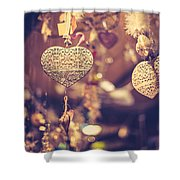 Golden Christmas Hearts Shower Curtain