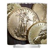 Golden Coins Shower Curtain
