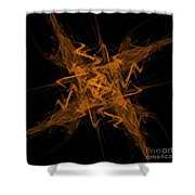 Golden Crosshatch Scribble  Shower Curtain