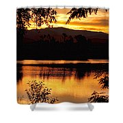 Golden Day At The Lake Shower Curtain