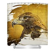 Golden Eagle Grunge Portrait Shower Curtain