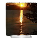Golden Evening Sun Rays Shower Curtain
