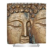Golden Faces Of Buddha Shower Curtain