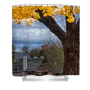 Golden Fall Colors Over Iron Works Shower Curtain