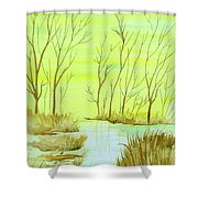 Golden Fall Day  Shower Curtain
