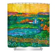 Golden Farm Scene Sketch Shower Curtain