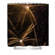 Golden Fireworks Shower Curtain