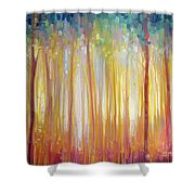 Golden Forest Hidden Unicorn - Large Original Oil Painting By Gill Bustamante Shower Curtain