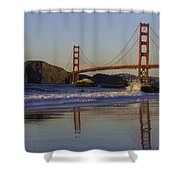 Golden Gate And Waves Shower Curtain