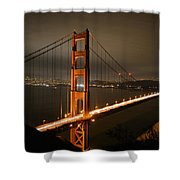 Golden Gate At Night Shower Curtain