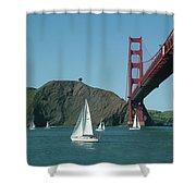 Golden Gate Bridge And Sailboats Shower Curtain