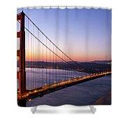Golden Gate Bridge During Sunrise Shower Curtain